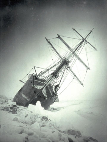 The appropriately named Endurance was trapped in the ice and had to be abandoned. (photo credit: Frank Hurley, 1915)
